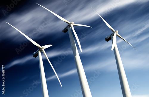 concepto de energia sostenible.Parque eolico y turbinas de aire - 49618757