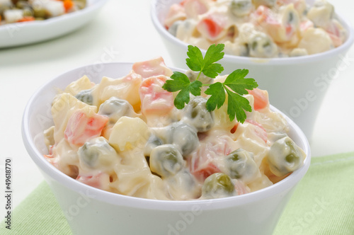 Insalata russa - Russian traditional salad, selective focus
