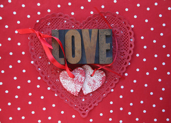 polka dots and Valentine hearts with love word