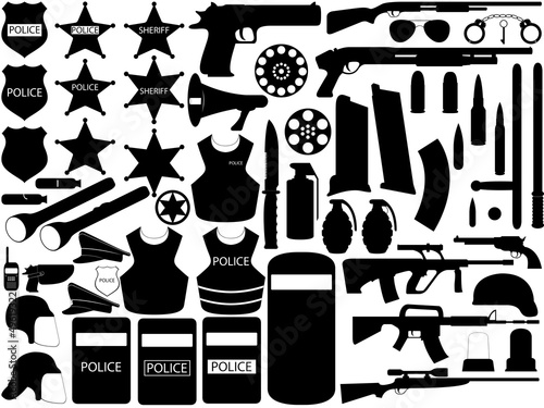 Illustration of police tools and firearms isolated on white