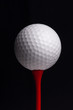 golf  tees with ball on black background