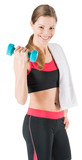 Beautiful young woman working out with dumbbell