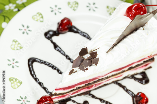 Black forest cake with a cherry
