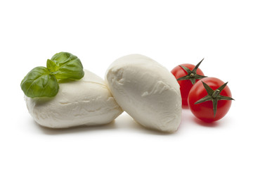 Fresh Mozzarella with basil leaves and tomatoes