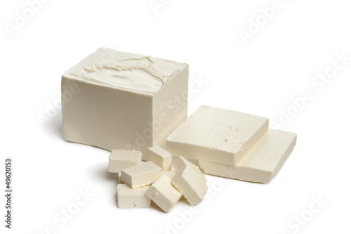 Feta cheese with slices and cubes