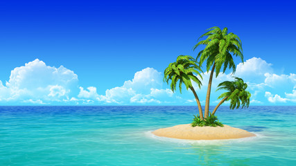 Desert tropical island with palm trees.