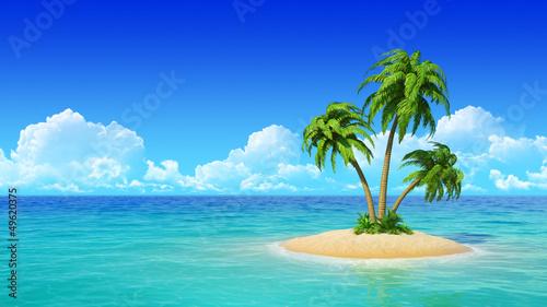 Leinwanddruck Bild Desert tropical island with palm trees.
