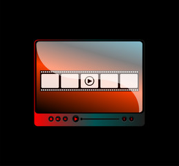 movie player interface with film strip and digital buttons