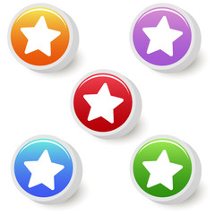Five colorful favorite buttons