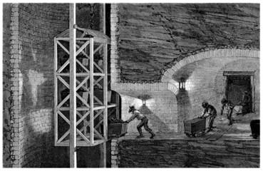 Inside a Coal Mine - Mine de Houille - 19th century