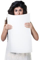 Surprised Woman Behind White Paper