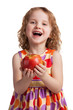 Happy cheerful girl with a ripe apple