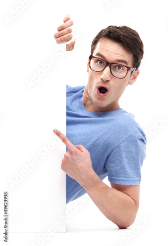 Man pointing at whiteboard