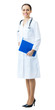 Full body portrait of female doctor or nurse, isolated