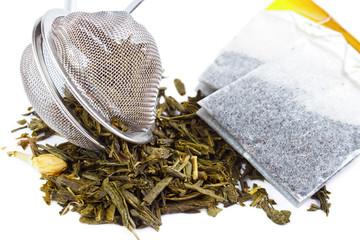 Dry tea with strainer and tea bags