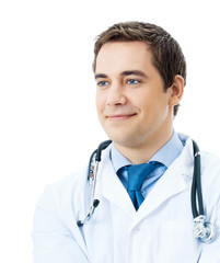 Portrait of happy smiling doctor, isolated