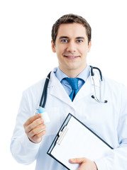 Doctor with medicament and clipboard, isolated