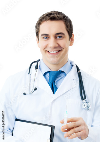 Happy doctor with syringe, isolated