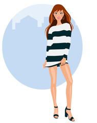 Mujer joven con vestido y tacones