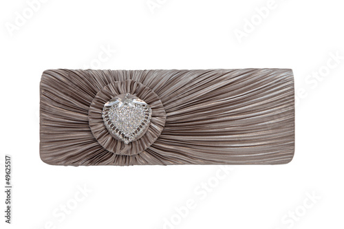 Luxurious clutch bag isolated on white
