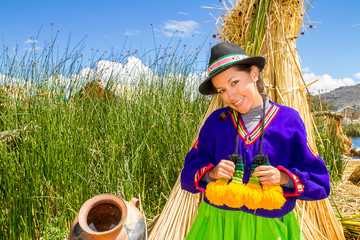 latin woman in national clothes. Peru. s. america