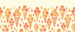 vector summer ice cream cones horizontal seamless pattern