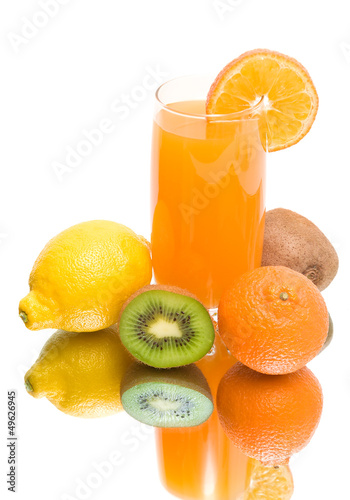 juice and fresh fruit on a white background