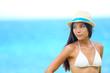 Woman beach portrait looking to side