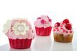 Cupcake in Pink mit Blumen Deko