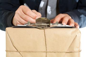 Messenger delivering a package