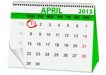 icon calendar for April 1