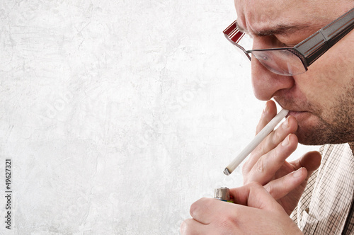 Nervous man smoking
