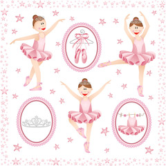 Pink ballerina digital collage