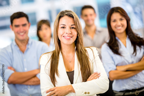 Businesswoman with a group
