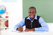 african american school teacher preparing class