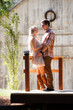 Romantic couple in rustic setting