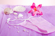 woman purple spa disposable panties for depilation