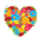 Vector Illustration of a Colorful Floral Heart
