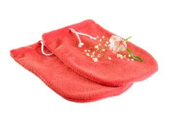 Red microfiber spa mitten