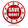 save money and dollar sign circle badge