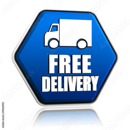 free delivery and truck sign in blue button