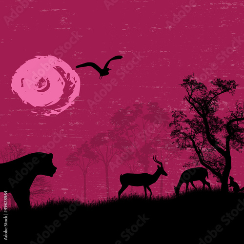 Africa / safari - silhouettes of wild animals