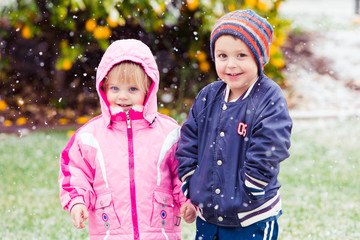 Children ready for snow play