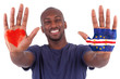 African man hands with a painted heart and  cape verdean flag, i