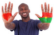 African man hands with a painted heart and burkinabe flag, i lov