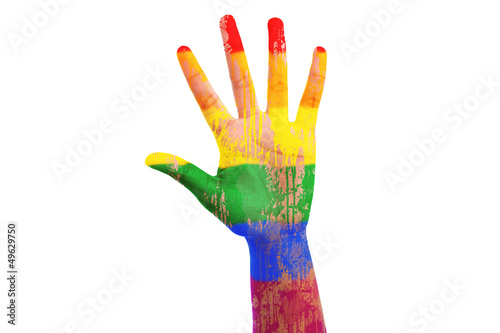 African hand with a painted lgbt flag