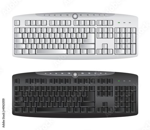 Computer keyboard in white and black color