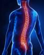 Leinwanddruck Bild - Man with glowing backbone