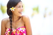Beach woman happy looking to side laughing
