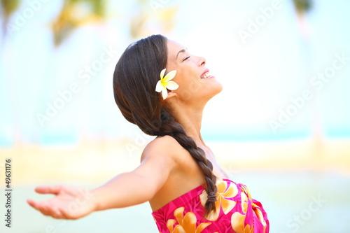 Freedom beach woman happy serene - 49631176